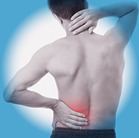 showing man with back and neckpain