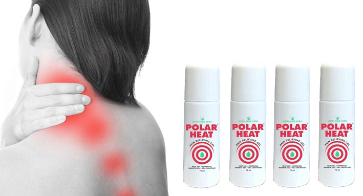Polar Products, woman with neckpain and backpain treatment with polar heat